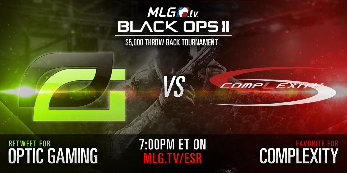 Don't miss the $5,000 Best of 11 Finals tonight at 7pmET! @OpTicGaming taking on Complexity http://t.co/s25mLUJPwP http://t.co/e2aTA6qnau