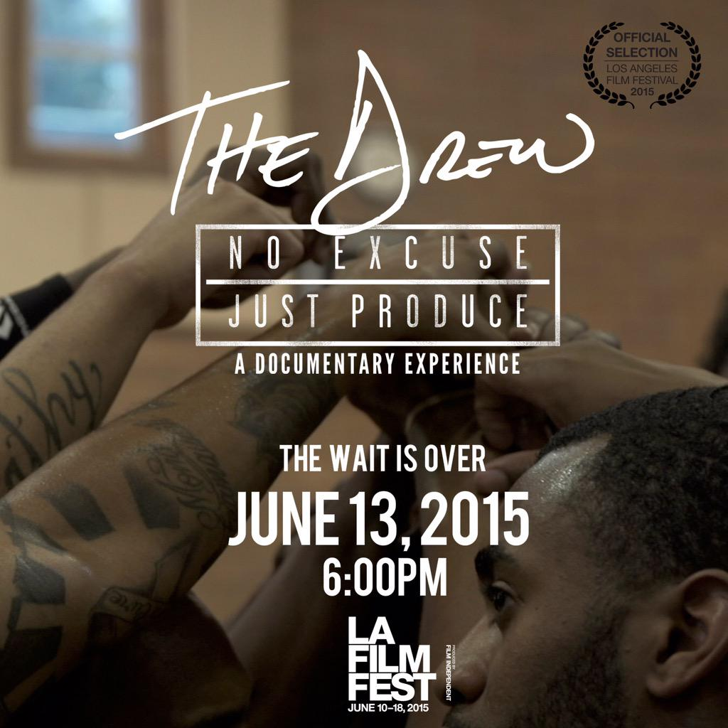 24 hours till #thedrewdoc premieres at @LAFilmFest!! Don't have tickets? What u you know about that #rushline http://t.co/2jsujIQxLT