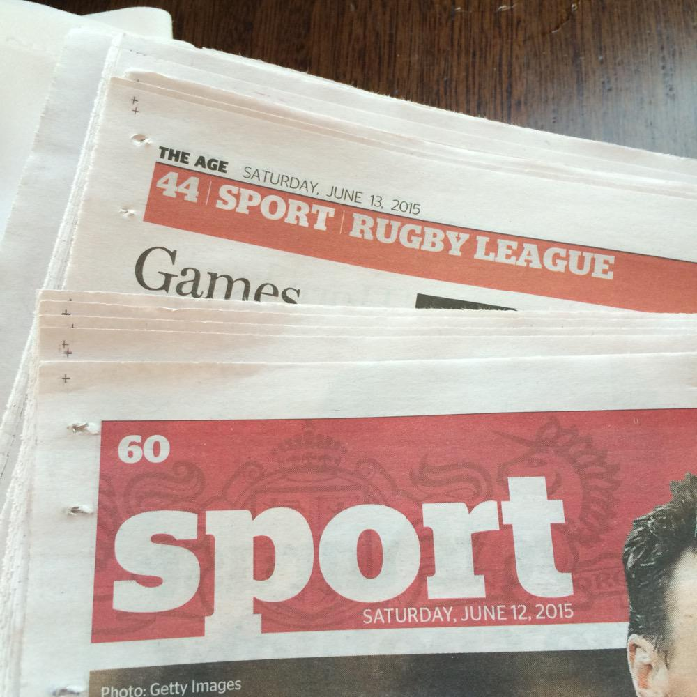Here's a fun game:  Pages you need to turn in a Melbourne newspaper before you get to Rugby League?   #NRL #Origin http://t.co/84YUG6gFnt