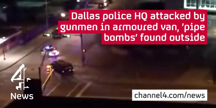 Dallas police confirm two explosive devices found outside HQ after shootout http://t.co/pf6SSBx0z9 #DallasPDShooting http://t.co/RBQ4rHtf9t