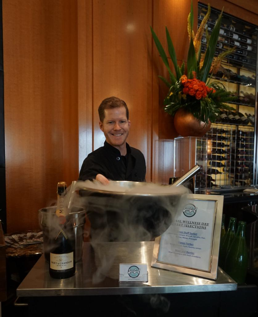 Garrett with @supercoolcrmry making healthy sorbet in support of #GlobalWellnessDay in #THEBlvd today. #FSWellness http://t.co/5P5UUhrHV9