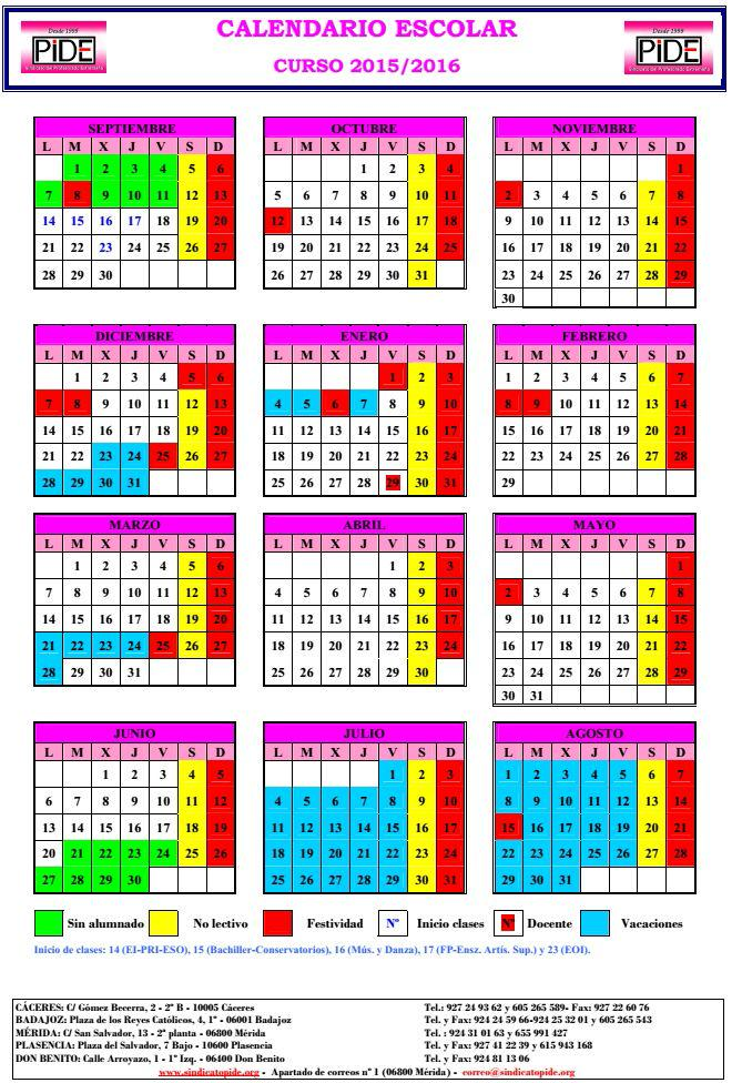 Calendario Escolar Extremadura.Sindicato Pide On Twitter Calendario Escolar 2015 16 Http T Co