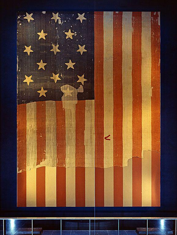 The original Star-Spangled Banner, which flew over Fort McHenry in 1814 and inspired our National Anthem. #FlagDay http://t.co/vcLEboQtGg