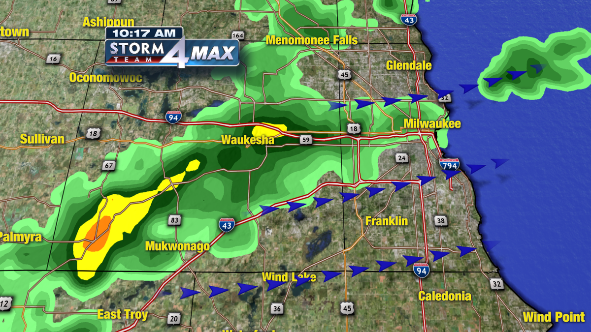 Heaviest showers moving through Waukesha county and into Milwaukee county at the moment.  No thunder.  #wiwx http://t.co/0La1PM2vXx