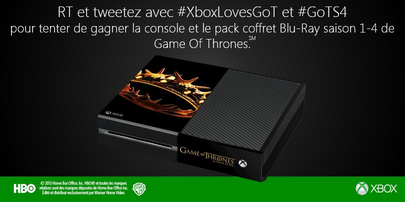 RT,tweetez #XboxLovesGoT #GoTS4 et tentez de gagner une console collector + coffret blu-ray S4 de #GoT @XboxFR
