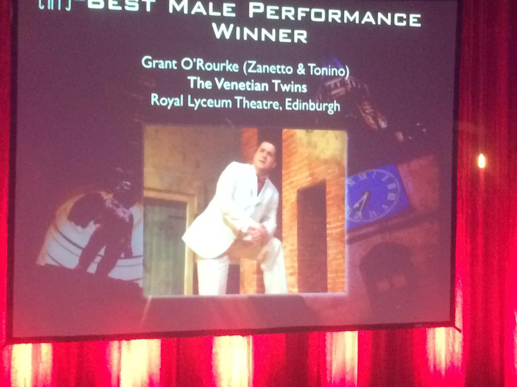 Winner 'Best Male Performance' our lovely @GrantORourke for #venetiantwins All kinds of proud! http://t.co/SLewh6hVLg