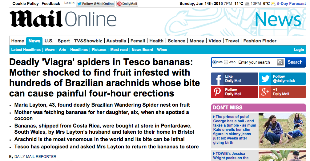 """""""Bloody spiders! Coming over here, giving us four-hour erections…"""" Surely this can't be true? http://t.co/PYrLb45v1h"""
