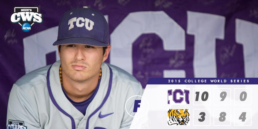 FINAL: TCU takes it's opening #CWS game with a dominating performance over LSU, 10-3! http://t.co/7lBxLxxzWC