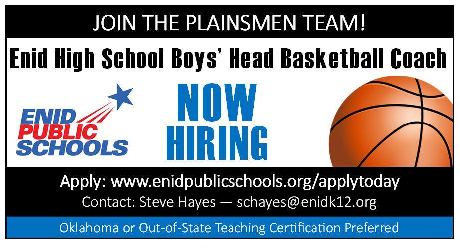 Enid (Okla.) now hiring an EHS Boys' Head Basketball Coach  http://t.co/AOgdJvD0uX #oklaed #txeduchat #NBAFinals http://t.co/qv2at3Qjs3