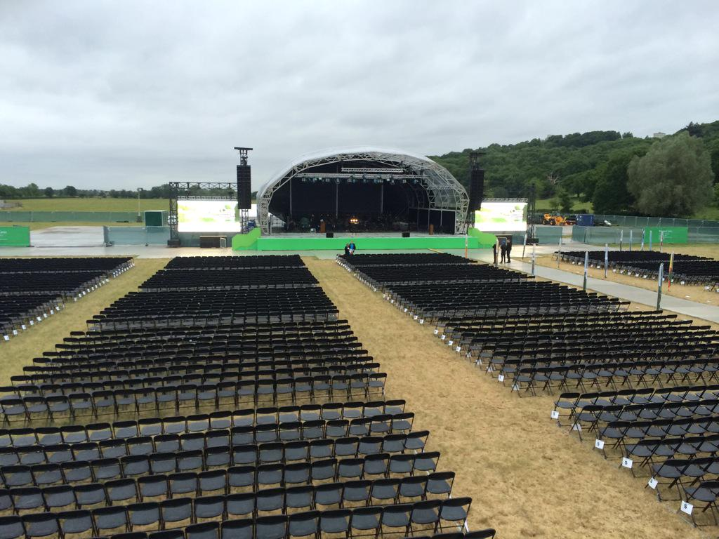 The stage is all set for today's celebration of #MagnaCarta800 http://t.co/32GuAVvC4z