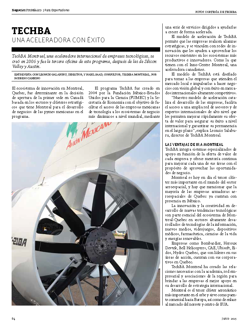 """TechBA una aceleradora con éxito"" vía @ProMexico en reciente publicación sobre sector aeroespacial @TechBAMontreal http://t.co/iJMfYDJ9M9"