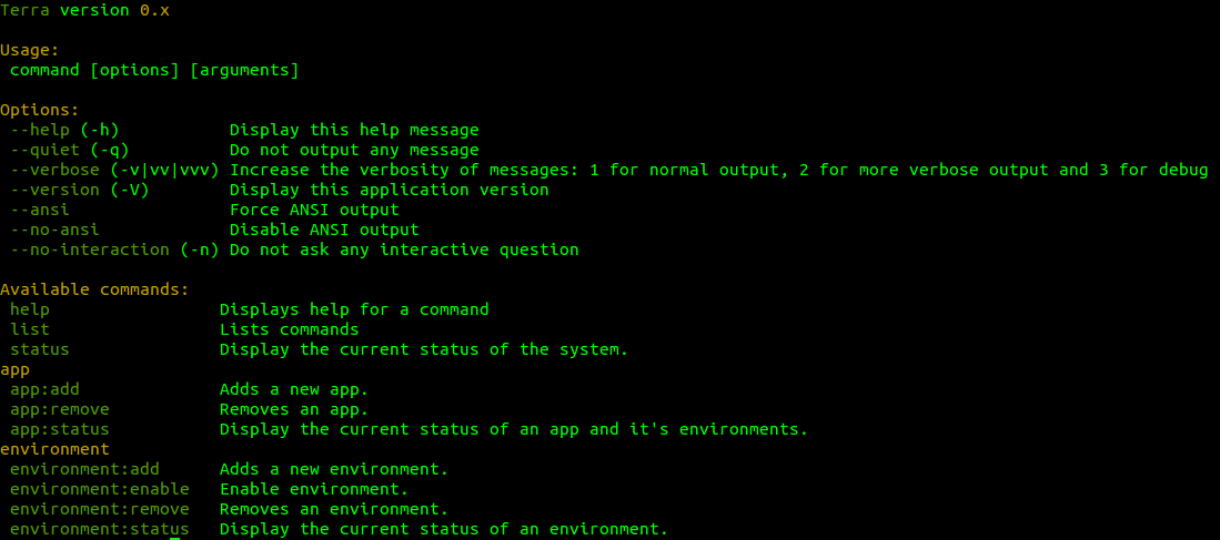 Terra command line interface