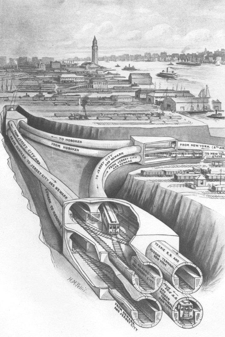 This is cool: cutaway diagram of the Hudson River Tubes (today's @PATHTrain)!  http://t.co/oeITj36zpx via @transitmap http://t.co/8gR4CMAUMp