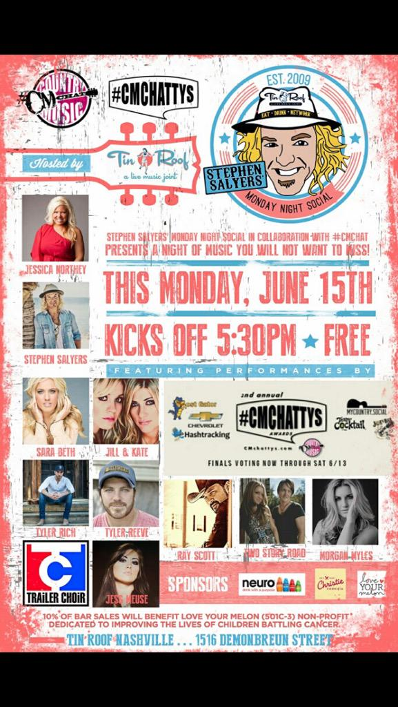 Tonight at @TinRoofNash @CMchatLIVE Come on out!  Fun all night long!  I play a little after 10pm! http://t.co/3LuV1cHxqU