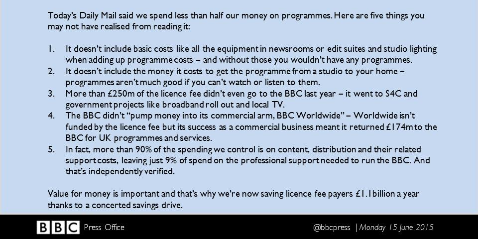 "Final thoughts on Daily Mail's ""BBC spends less than half its cash on programmes"" story – here's a summary. http://t.co/idypyObCmD"