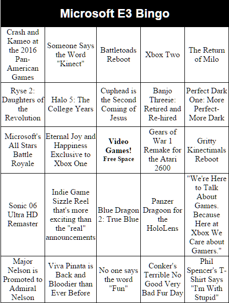 Here's our bingo card for Microsoft's #E3 presser. We feel PRETTY GOOD about Ryse 2: Daughters of the Revolution. http://t.co/cBtul8cQLg