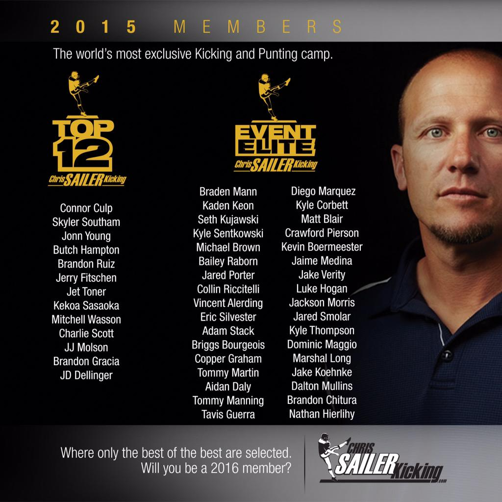 Chris Sailer Kicking welcomes the best of the best to CA. Remember these names! #TOP12 #EventElite # TeamSailer http://t.co/55dUdpJ7pB