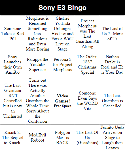 Sony's #E3 press conference starts soon, and we're all ready with our bingo card. Are you excited for Polygon Man? http://t.co/p5TbRfp7Ws