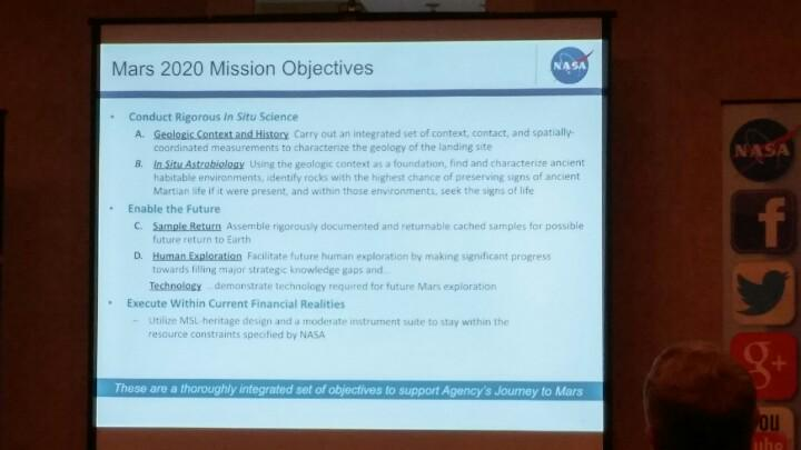 Mission objectives of Mars 2020. #NASASocial http://t.co/pZGBX5mDlK