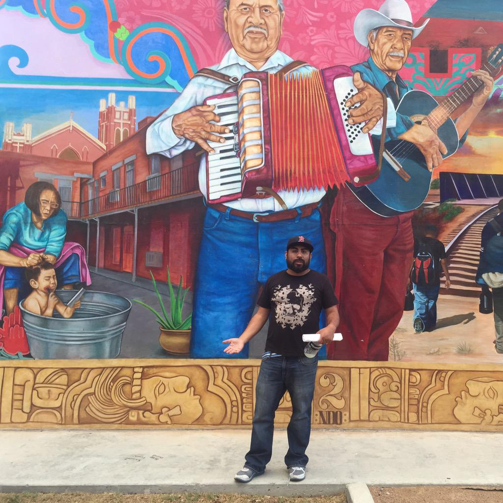 "Local artist, Cimi Alvarado, gave us a tour of murals in El Paso. This is his piece ""el corrido del segundo barrio"" http://t.co/SKn9z8H981"