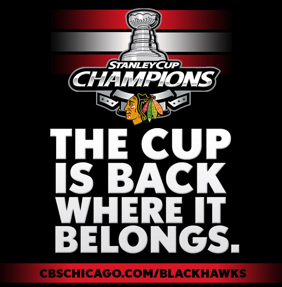 For the third time in six years, the Cup is back in Chicago. The Blackhawks are champs again. http://t.co/az30JIxGmJ http://t.co/aPyBlKeO59