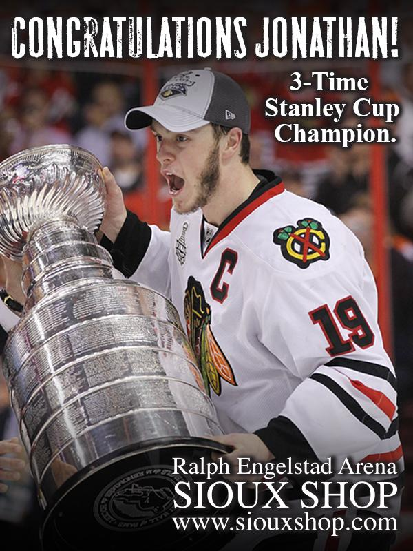 Congratulations to Jonathan Toews on winning his 3rd Stanley Cup, setting a UND record!!! #UNDproud http://t.co/Ln2VRCjcu1