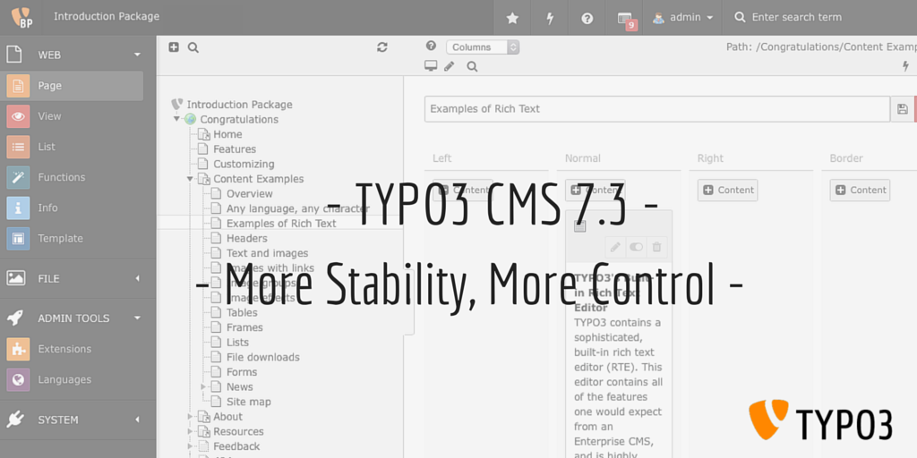 Announcing TYPO3 CMS 7.3 - More Stability, More Control - http://t.co/KPimpqp1jO ~ Naike http://t.co/M8Uq5pSUnV
