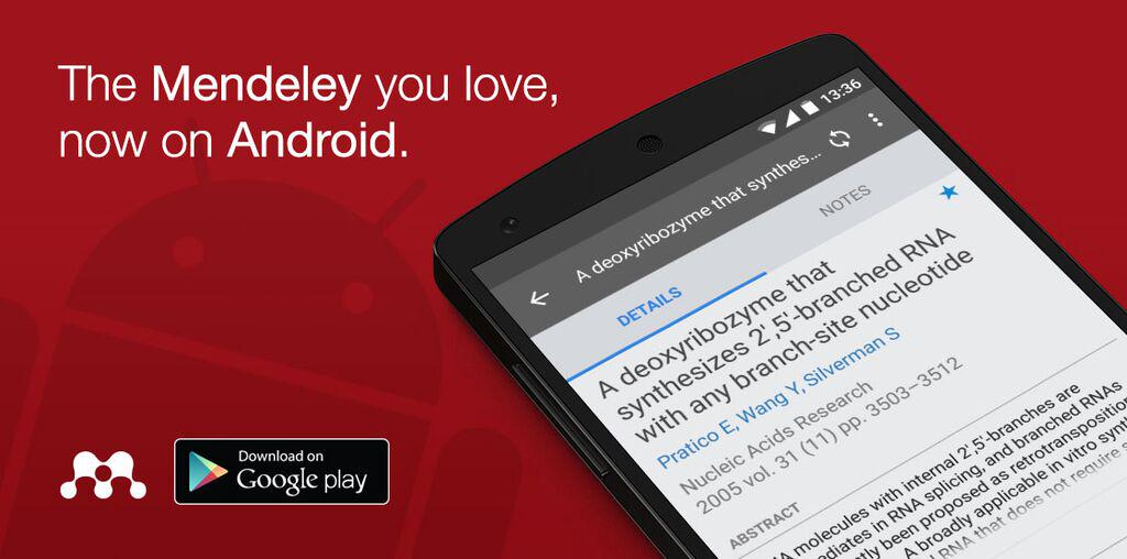 It's here! #Mendeley for #Android is now available to download from the Google Play Store http://t.co/SH1BnDd9Ti http://t.co/1kMkgRP7eg