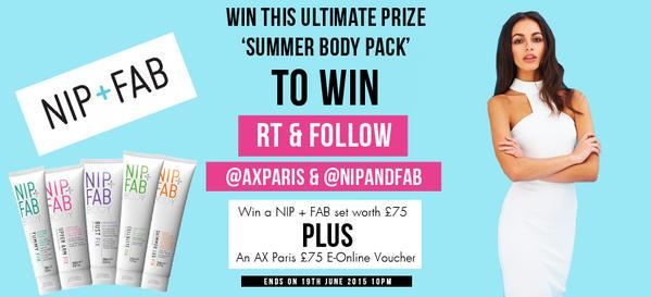 Win a summer body pack with @AXPARIS and @NipandFab. RT and follow both brands to win #comp #win #summer ✌️☀️ http://t.co/ckOv8XpHHm