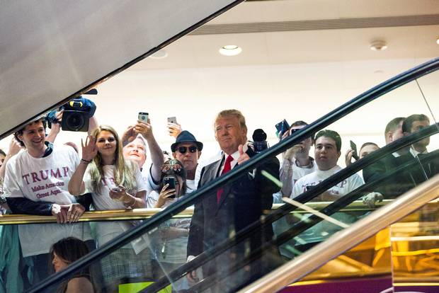 #Trump rides escalator to sound of 'Rockin' in Free World' to announce 2016 presidential bid http://t.co/Yys9yFpAJN http://t.co/NnJkGvzxXE
