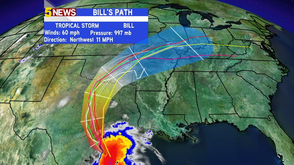 """Tropical Storm Bill is making landfall in TX and will move into our area Wed/Thurs. 4-6"""" rain possible. - @5NEWSJoe http://t.co/VGUwqjdkn7"""