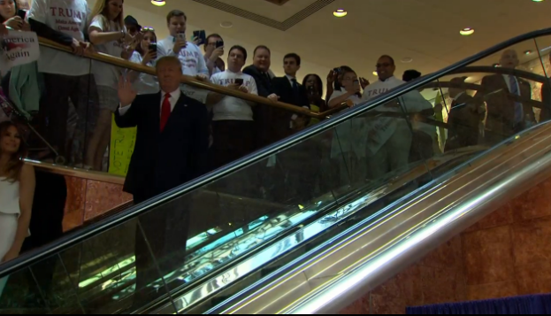 I like how Donald Trump takes an escalator to the podium. Very classy. #PresidentTrump http://t.co/EKD2AoYWp6