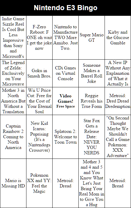 40 Minutes to go until our federally mandated dose of Reggie. Here's our Nintendo #E3 bingo card! http://t.co/O6rzw43Pw8