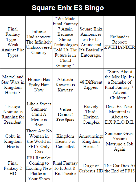 Ten minutes until Square Enix tells all. Here's one last #e3 Bingo Card, for old times sake. http://t.co/YwhMmbv6Mw