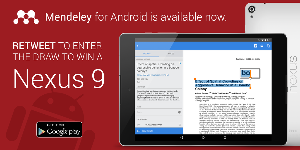 #Mendeley for Android is out now, enter to win a #Nexus9 by Retweeting this Tweet Details here http://t.co/mG0RdNQRmH http://t.co/VFjsmw0xHX