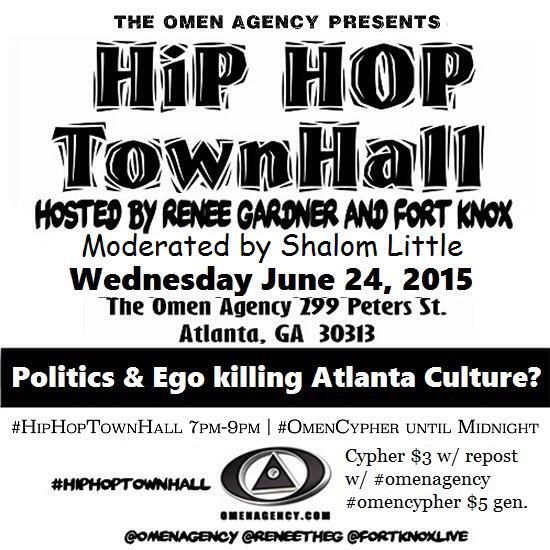 "This Wed 7PM #HipHopTownHall returns to @OmenAgency discussion on ""Politics and Ego Killing Atlanta Culture"" http://t.co/hcgiTw5Hfm"""