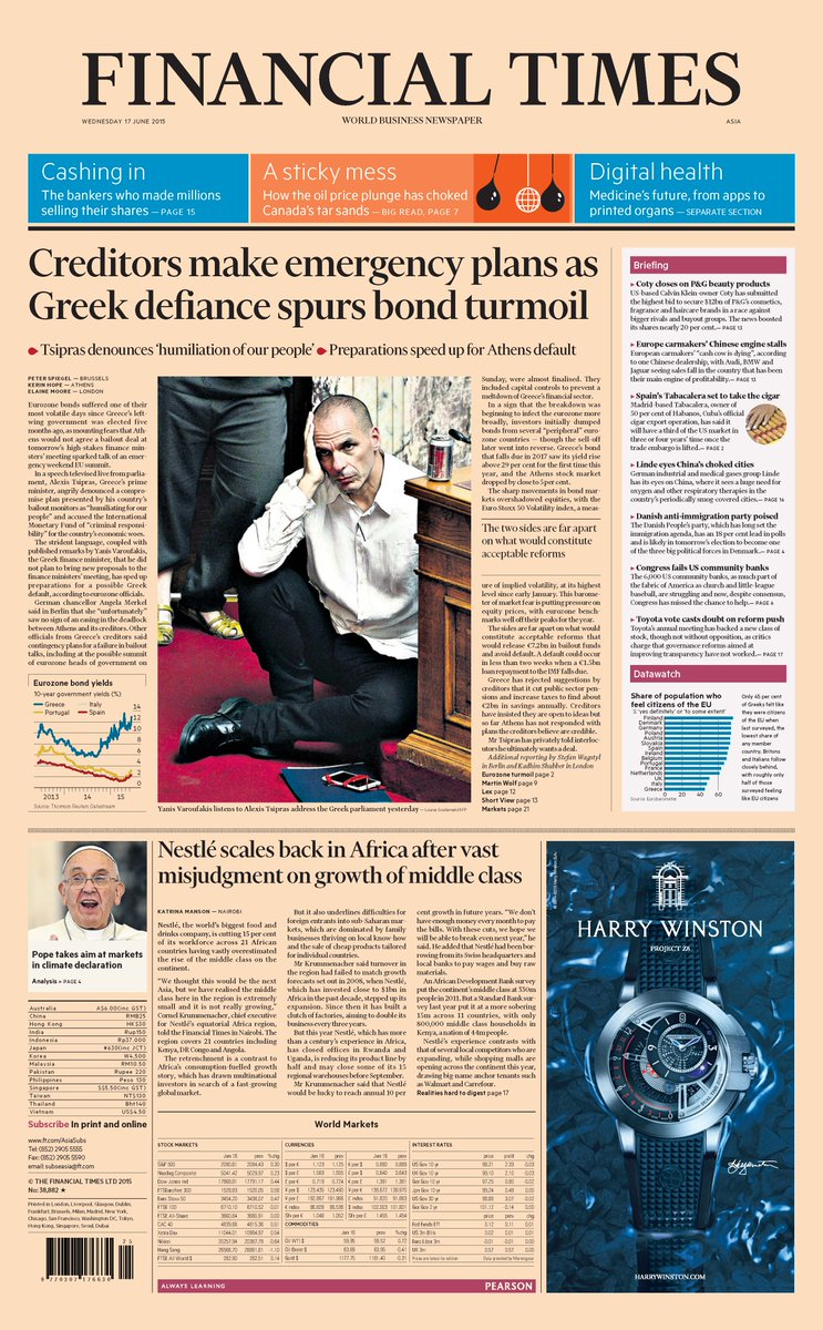 Bank of Greece issues grave warning of Grexit as British government prepares for fallout - as it happened 17 June 2015