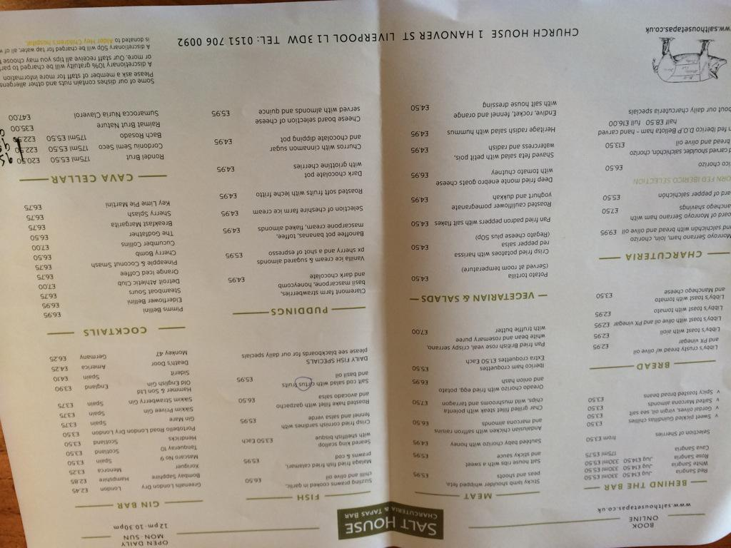 Salt House Tapas on Twitter  Glimpse of new menu which goes live next Tuesday includes new Cava cellar! //t.co/Eeh6j2opQc  & Salt House Tapas on Twitter: