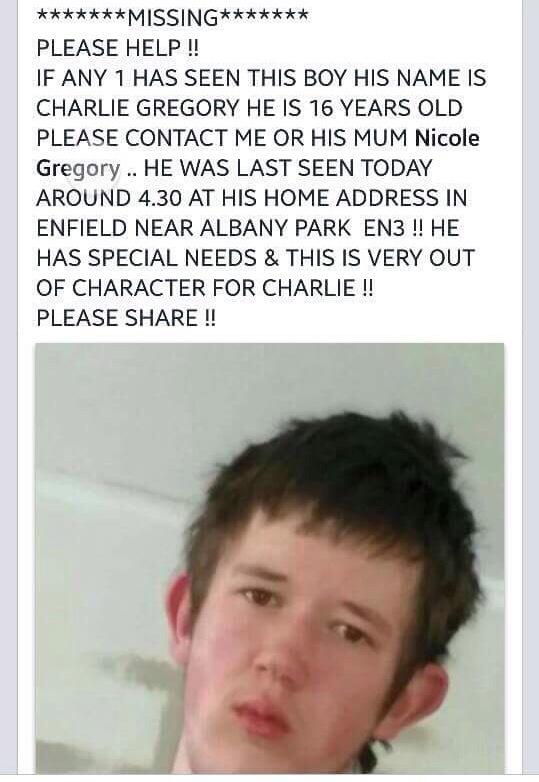 RT @StevoTheMadMan: ATTENTION !! MISSING PERSON   North London.   PLEASE have a look at the pic.    Charlie is very vulnerable. Pls RT http…