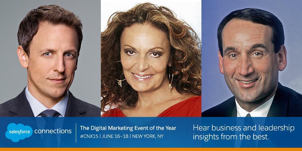 Missing #CNX15 keynotes? Enjoy inspiration from @SethMeyers & @DVF on #SalesforceLive: http://sforce.co/1HTLmSf