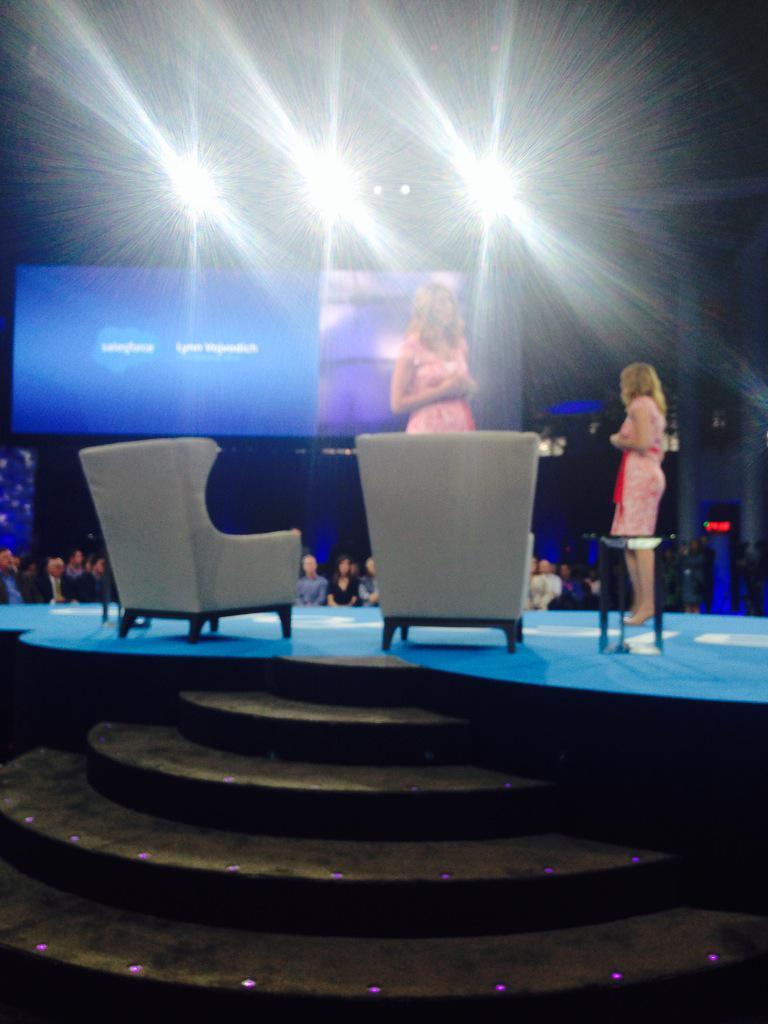 CMO of Salesforce introducing Diane von Furstenburg and Seth Meyers
