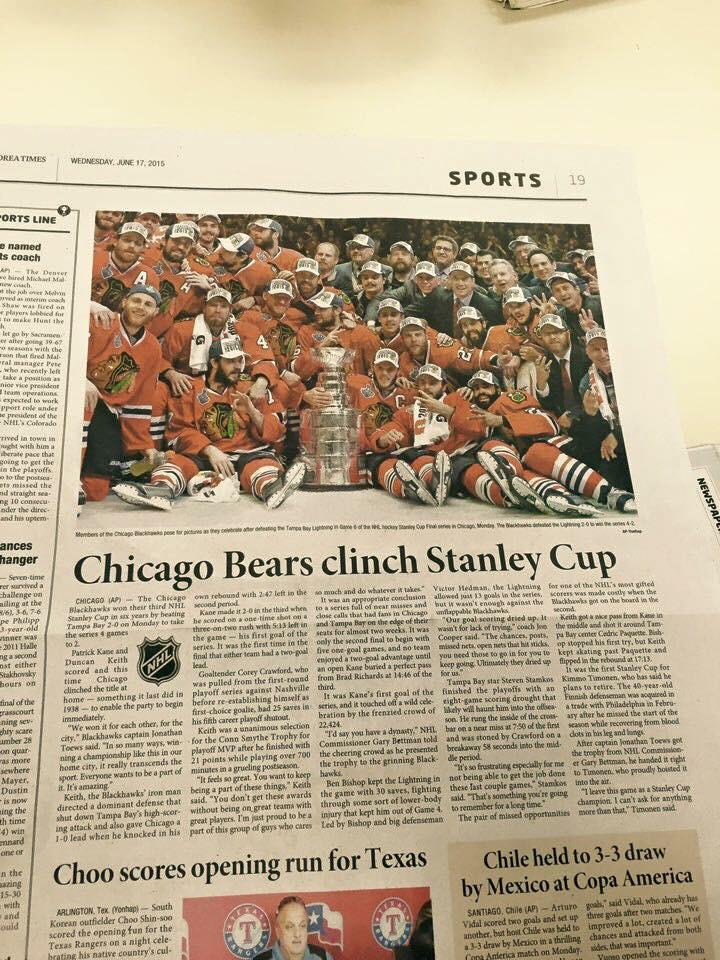 Congrats Chicago Bears on Winning the Cup!  Can you say Dynasty?!? http://t.co/EFWRTzb3eI