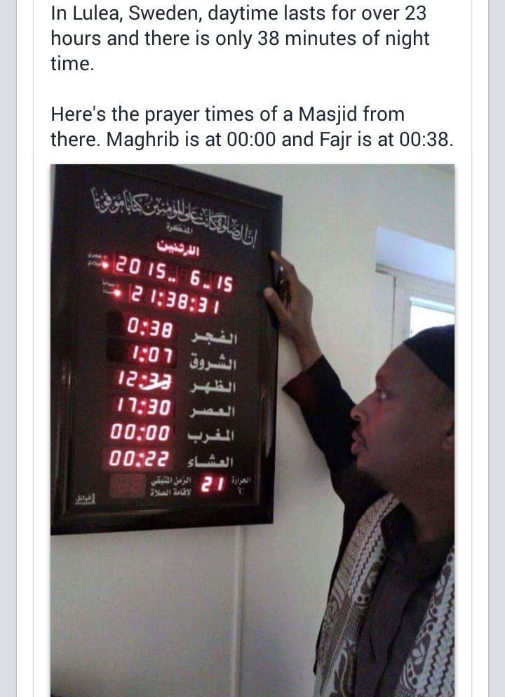 Maghrib @ 00:00, Fajr @ 00:38. Sweden = Ramadan hard mode. http://t.co/BqXhVxpeCK