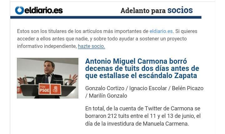 Antonio Miguel Carmona borró decenas de tuits dos días antes de que estallase el escándalo Zapata  CHvFLcVWUAAMFyU