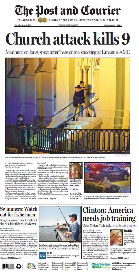 Today's tragic front page. http://t.co/uPj4AOavhn #CharlestonShooting #PrayForCharleston #chsnews http://t.co/2qkCWHqu1M