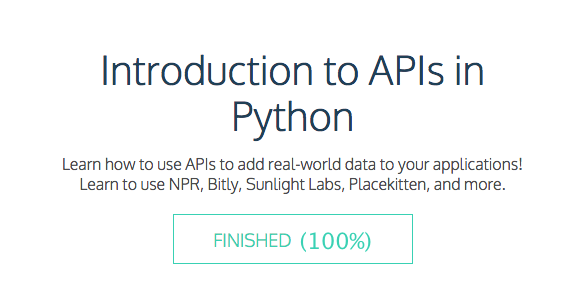 """Finally had time to complete """"Introduction to APIs in Python"""" @Codecademy #SoDS! Review here: http://t.co/NgG2YepMax http://t.co/hEMNRP9hgk"""