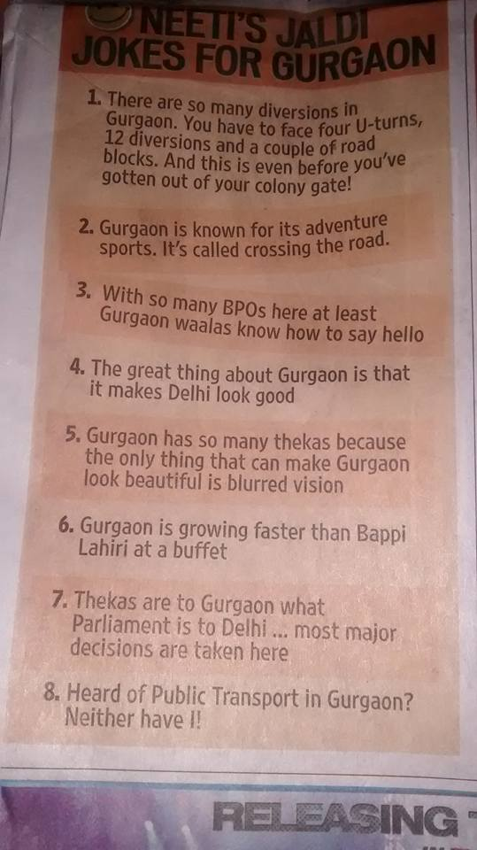 Loved these jokes on my favourite gaon #Gurgaon http://t.co/HVURA8no01