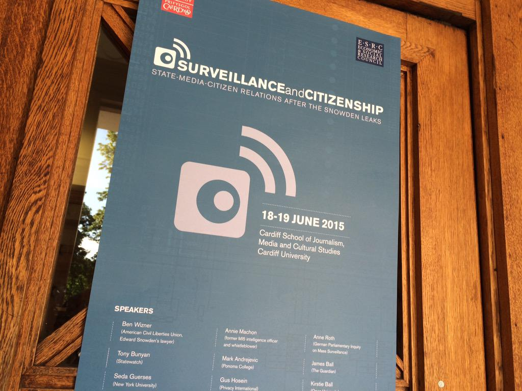 Registration is open at Bute Building for today's #surveillance15 conference. http://t.co/tLaymKNkYK