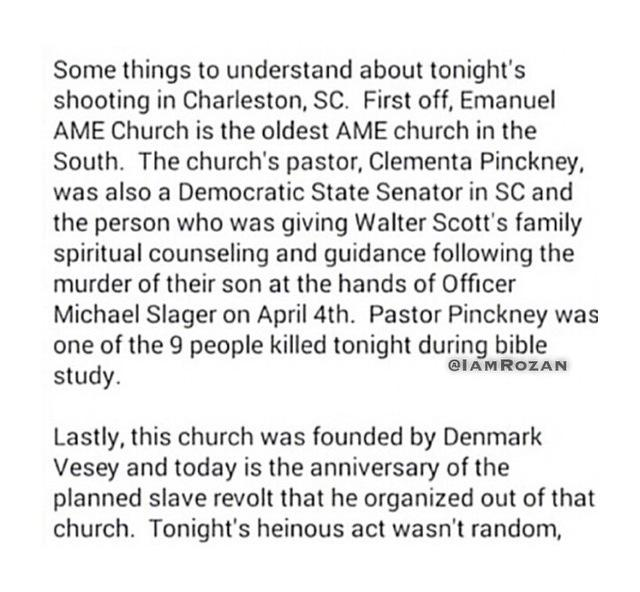 Crucial info re: #CharlestonShooting @ATLBlackStar http://t.co/BWioTvWuyv