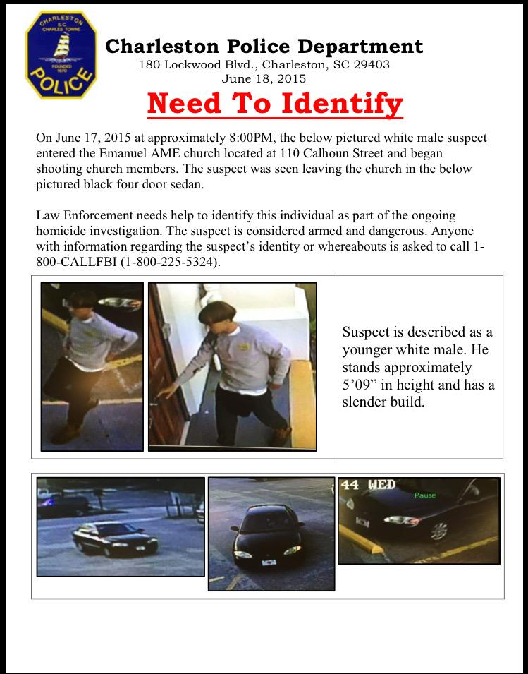 Charleston Police asking public for help identifying this man, the suspect in #CharlestionShooting #chsnews http://t.co/wcpGKUoDp3